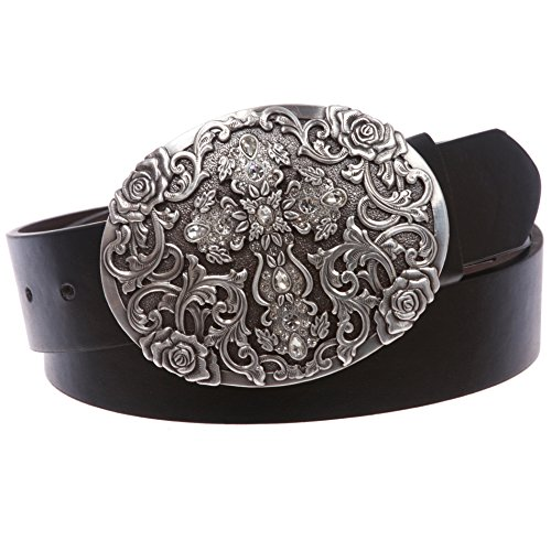 (Western Antiqued Silver Cross & Rose Filigree Rhinestones Oval Belt, Black | xl)