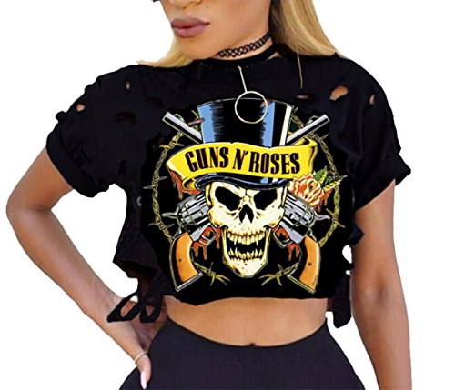 Mojessy Women's Guns N Rose Prints Short Sleeve Pullover Tshirt Ripped Crop Tops