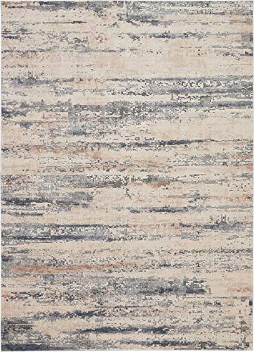- Nourison RUS04 Rustic Textures Beige/Grey Area Rug 9'3