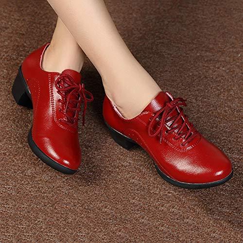 Señoras 5 Negro Fondo Primavera Zapatos Tamaño 250mm color Pengfei Red 3 Suave Mujeres uk6 Colores Talón l De Y Eu40 Cómodo Baile Las Botines Medio Verano BqdCpUxw