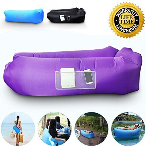 Anglink Outdoor Inflatable Lounger Couch, Thick Durable Comfortable, Air Sofa Blow Up Lounge Sofa with Carrying Bag for Travelling, Camping, Hiking, Park, Pool and Beach Parties (Bed Day Lounge)