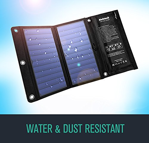Nekteck 14W Solar Charger with 2-Port USB Charger Build with High efficiency Solar Panel Cell for iPhone 6s / 6 / Plus, SE, iPad, Galaxy S6/S7/ Edge/ Plus, Nexus 5X/6P, any USB devices, and more by Nekteck (Image #3)