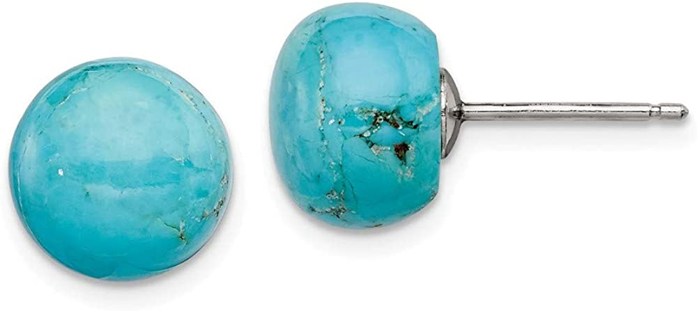Silver Button Genuine Turquoise Post Earrings