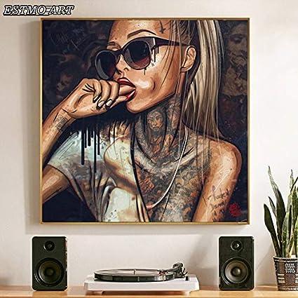 PLjVU Pintura de la Lona Abstracta Chica Fresca Pintura del Tatuaje con Gafas género Mujeres Cartel Retrato Arte de la Pared Imagen para la decoración del hogar-Sin marco70x70