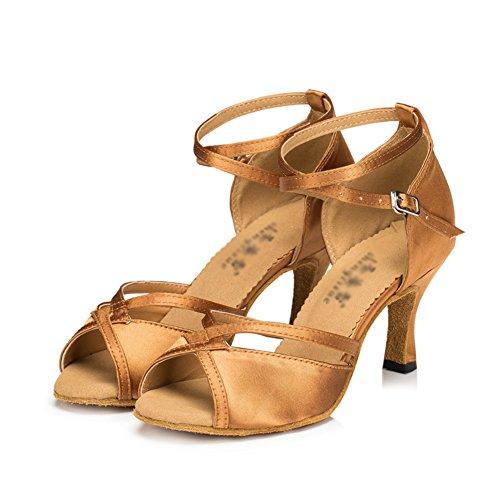 WYMNAME Mujeres Zapatos De Baile Latino,Tacones Mediados Interiores Sandalia Fondo Blando Zapatos De Baile Social Bronce