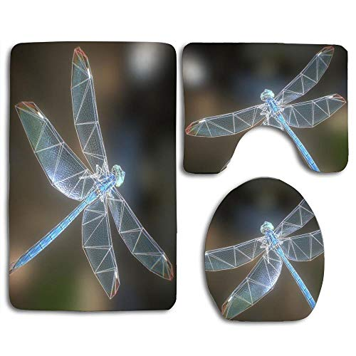 EnmindonglJHO Animated Dragonfly 3D Model Bathroom Rug Mats Set 3 Piece Toilet Carpet Rugs Includes Contour Mat and Lid Cover, Non Slip Mats for Tub -