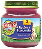 Earth's Best Organic Stage 2 Baby Food, Apples & Blueberries, 4 Ounce Jars, Pack of 12
