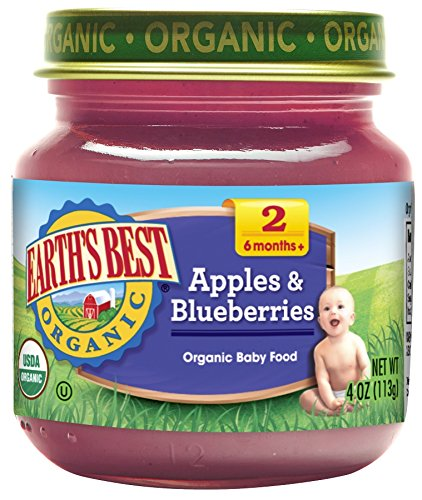 Price comparison product image Earth's Best Organic Stage 2 Baby Food, Apples & Blueberries, 4 Ounce Jars, Pack of 12