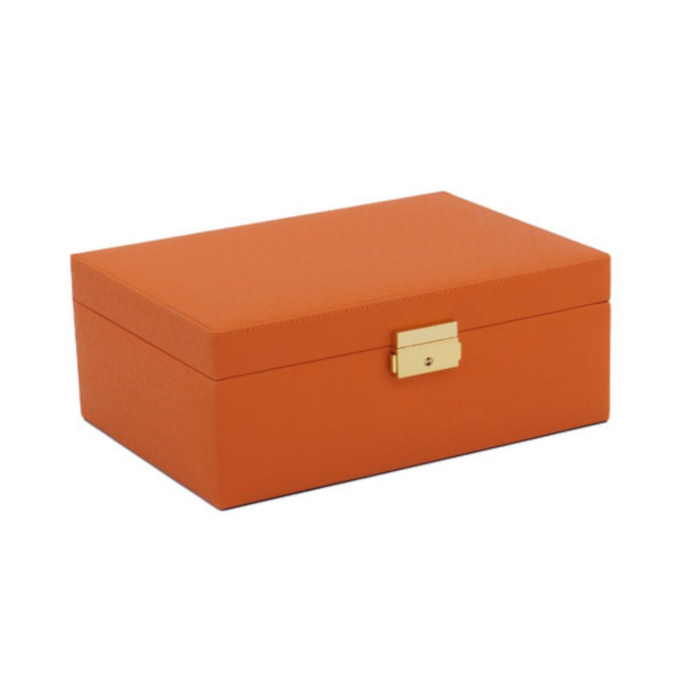 11.5 Inch Premium Luxury Rectangle Leather Jewelry Organizer Box in Orange with Gold Key Lock & Mirror by WOLF