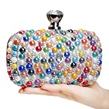 Bead Clutch, Women's Fashion Crystal Rhinestone Evening Bag Wedding Party Prom Handbag Purse (Multi-colored)