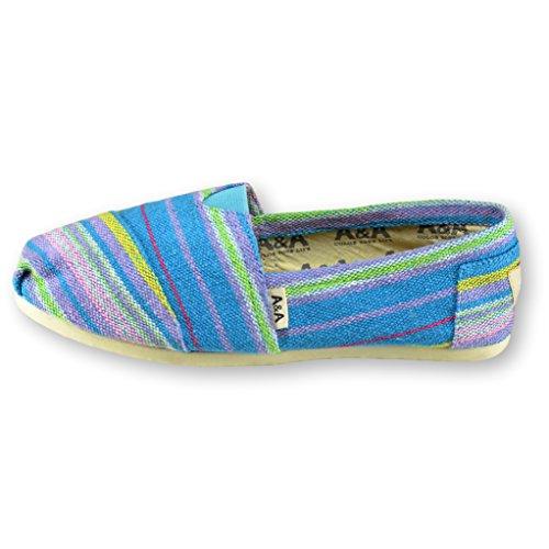 A & A Women Multicolor Slip-on Casual Flats Canvas Shoes Alpargatas (indie) Turquoise