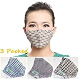 Doshop Pack-3 Comfort Anti Dust Face Mouth Warm Masks Cotton & Activated Carbon With 3D Embossing Small Checks For Man Woman