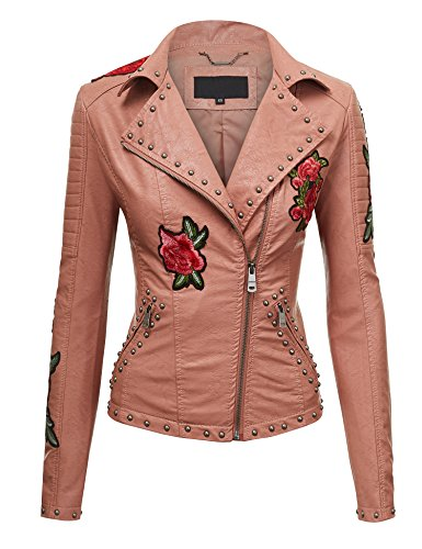(LL WJC1496 Womens Floral Embroidered Faux Leather Moto Jacket XS)