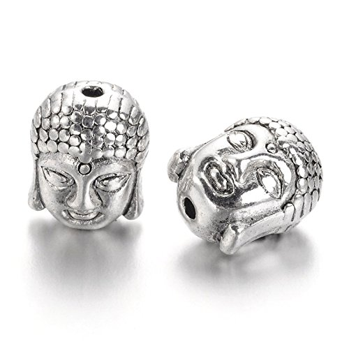 (Craftdady 20PCS Tibetan Style Lead Free Buddha Head Beads Spiritual Metal Spacer Beads for Jewelry Making, 11x9x8mm, Hole:1.5mm (Antique Silver))