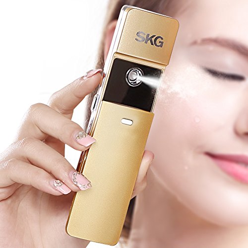 SKG Premium Handheld Nano Ionic Cool Mist Face Hydration Sprayer - Handy Face Moisturizing Eyelash Extensions - Portable USB Face Moisture Facial Spray Beauty Instrument (Golden, 1-Minute Timer)