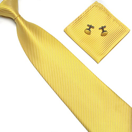 Yellow Striped Silk Necktie - 3