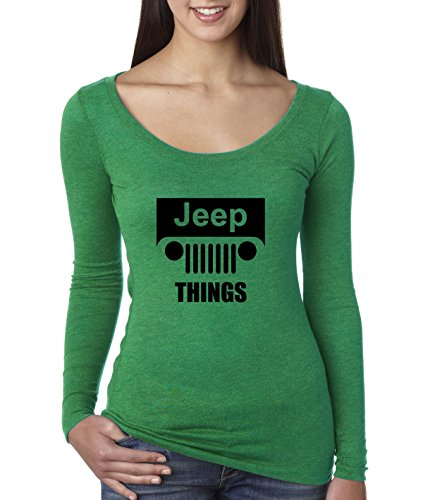 New Way 740 - Women's Long Sleeve T-Shirt Jeep Things Wrangler Grille Large Envy