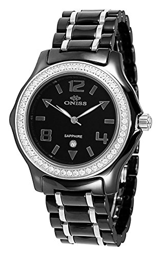 Oniss Swiss Movement - Oniss Paris Women'S ON806-L Blk  Ladies, High Tech Ceramic Case and Band with Stainless Steel Middle Links ,Swiss Movement, Sapphire Crystal, Mop Dial,52 Austrian Crystals on Bezel - White Watch