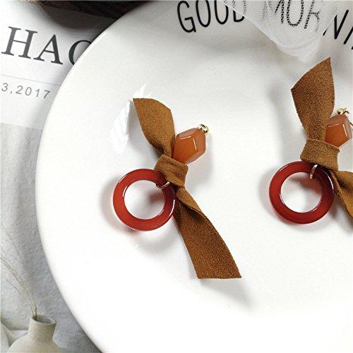 BIGBOBA Mode Kaki Bowknot longues boucles doreilles creux Forme ronde Pendentif Boucles doreilles bijoux Pendentif pour femmes filles