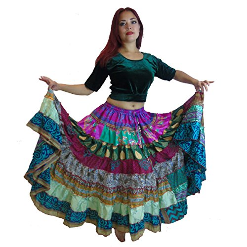 [1 - 7 Yard Tribal Gypsy Maxi Tiered Skirt Belly Dancing Skirts Silk Blend Banjara Fits S M L XL] (Banjara Dance Costumes)