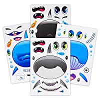 24 Make A Big Sea Life Sticker Sheets - Orca Killer Whale, Humpback, Dolphin & Great White Shark Stickers - Great Addition To Mermaid Birthday Party Favors - Fun Activity That Encourages Creativity