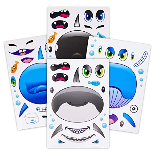 24 Make A Big Sea Life Sticker Sheets - Includes Orca Killer Whale, Humpback Whale, Dolphin & Great White Shark Stickers - Great Addition To Birthday Party Favors - Fun - Birthday Party Sticker