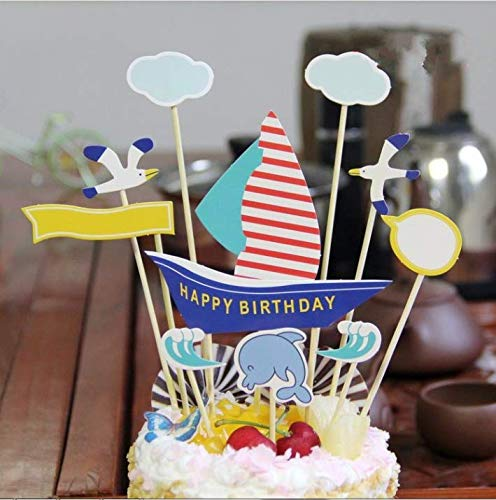 (PureArte Happy Birthday Cake Topper For Boys Party Favors Decoration blue Sailing)