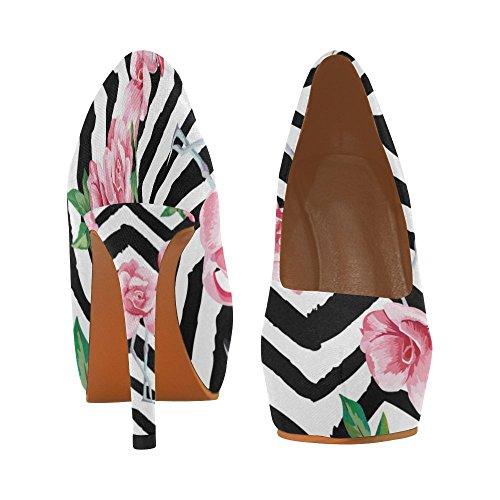 Interestprint Skulls Bellissime Donne Sexy Tacchi Alti Pump Shoes Bellissimi Fiori Rosa Flamingo E Rosa