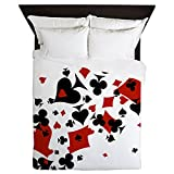 CafePress - Scattered Card Suits - Queen Duvet Cover, Printed Comforter Cover, Unique Bedding, Microfiber