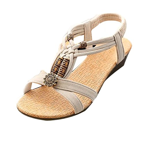 Flat Shoes Casual Beige Sandals Peep Buckle toe Women's Summer Roman hunpta Y4gwIqq