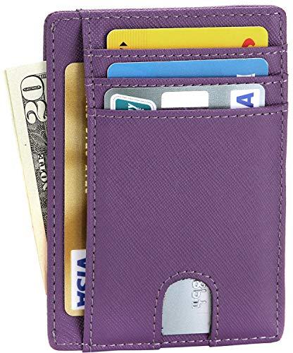 ard Holder Minimalist Leather Front Pocket Wallet for Men or Women - Purple ()