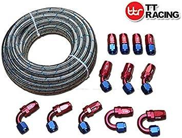 Pro Braking PBK7132-SIL-BLU Front//Rear Braided Brake Line Silver Hose /& Stainless Blue Banjos