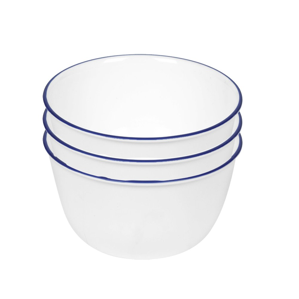 Corelle Livingware 28-Ounce Super Soup/Cereal Bowl, Navy Blue (3 Bowls) by Corelle Coordinates