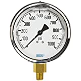 WIKA 9314741 Industrial Pressure Gauge, Liquid-Filled, Copper Alloy Wetted Parts, 4