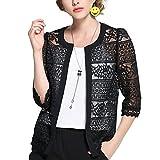 Inshine Women Lace Crochet Sheer Open Front Mesh Cardigan Coat Black Large