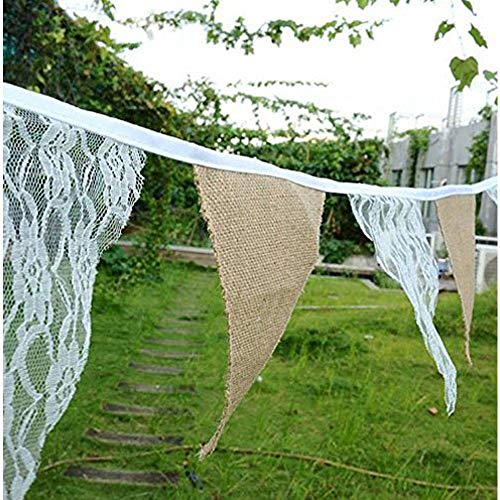 Burlap Chic Lace Jute Banner, DIY Decoration Vintage Triangle Hessian Bunting 12Pcs Flag Cloth For Wedding Birthday Party Baby Shower Halloween Christmas Xmas Festivals Home Decor 3M/9.84Ft -