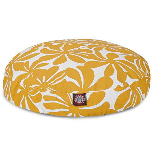 Yellow Plantation Medium Round Indoor Outdoor Pet Dog Bed With Removable Washable Cover By Majestic Pet Products ()