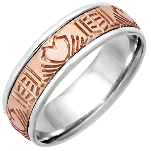Two Tone Platinun and 18K Rose Gold Celtic Claddagh Women's Comfort Fit Wedding Band (7mm) Size-8