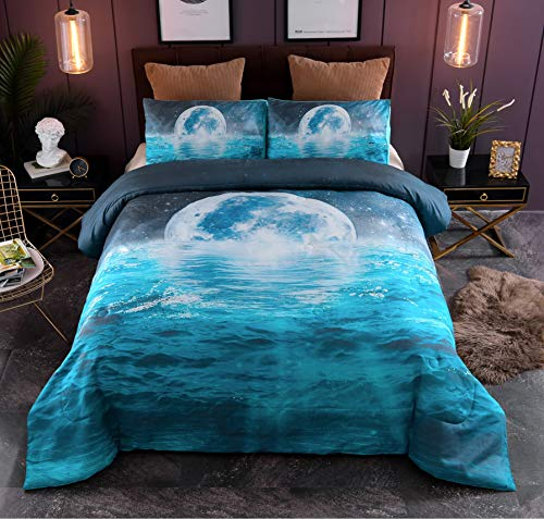 A Nice Night Galaxy Moon Blue Ocean Vivid Print Comforter Set Queen Size,Soft Brushed Microfiber Bedding Sets (Water-Ripple) (Ocean Comforter Set)