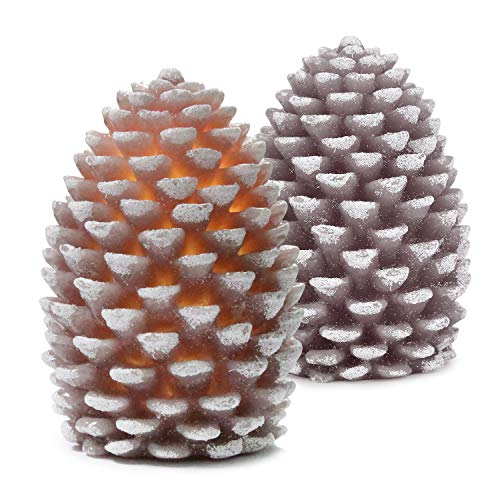 (Lafrie Pinecon Flameless Candles Set of 2 Battery Operated LED Candles with Timer 4 inch Real Wax Pine Cone Shaped for Home Decor/Party/Christmas/Wedding(Brown-red))