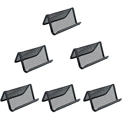 6 PCS Mesh Metal Business Card Holder - Pistha Black Mesh Collection Business Card Holder for Card Management and Office Organization