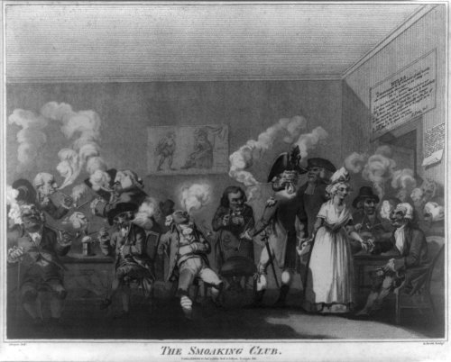 """photograph: The Smoaking Club. Publish'd 10 Jany 1792 J. Boyne, delt ; E. Scott, sculpt. """"Elderly men sit and stand, all smoking long pipes; large clouds of smoke issue from their mouths, but little or nothing comes from the bowls of their pipes """" (Source: George) by Bull & Jeffryes, Ludgate Hill, 1792 Stipple engravings 1790-1800. Cartoons (Commentary) British 1790-1800."""