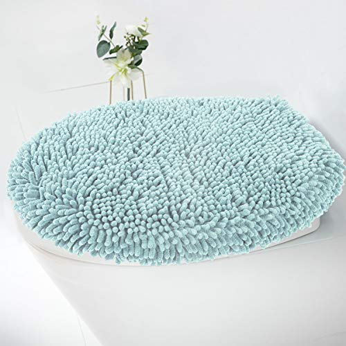 (MAYSHINE Seat Cloud Bath Washable Shaggy Microfiber Standard Toilet Lid Covers for Bathroom -Spa Blue)
