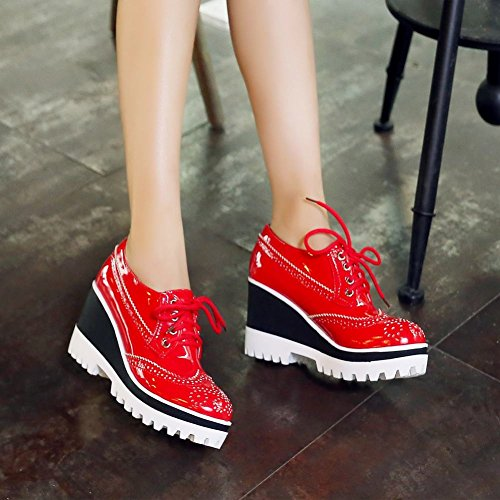 Latasa Damesmode Veterplateau Hoge Wedge Oxford Schoenen Rood