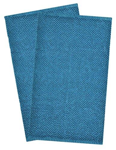Value Homezz 100% Cotton Rug ( 2 piece bathroom rug set ) Bubble Design bath mat Chenille Bath Rugs Size 20 x 32 / 20 x 32 Anti-Slip Machine washable Bathmat (Meditarranian Blue)