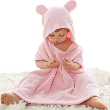 LYX Toalla para Bebé con Capucha, 100% Algodón Antibacterial Y Hipoalergénica Toalla para Bebé para Bebés Y Niños Pequeños,Pink,55 * 60Cm: Amazon.es: Deportes y aire libre