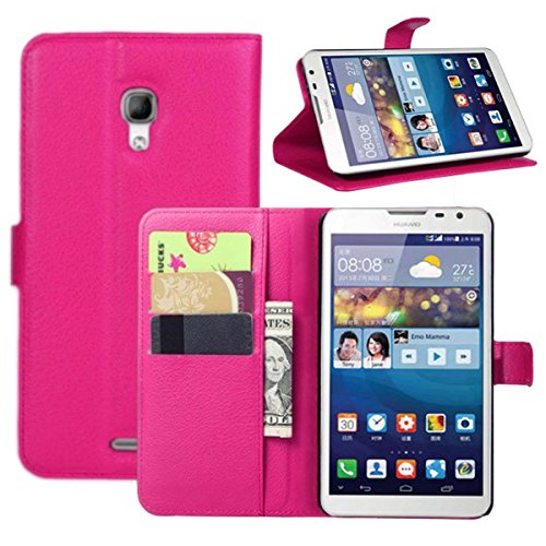 Ultra Slim Flip Bracket Cover Case for Huawei Mate 2 - Premium Soft PU Leather [ Wallet ] Case Cover for Huawei Ascend Mate 2 4G (Folio - Rose)