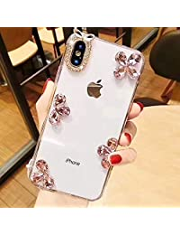 Funyye 3D Crystal Rhinestone Case for Huawei P Smart,Luxury Bling Glitter Pink Petal Diamond Ultra thin Transparent Hard PC Case for Huawei P Smart,Anti Scratch Bumper Back Cover Case for Huawei P Smart + 1 x Free Screen Protector