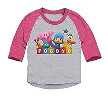 Pocoyo - Pocoyo Logo With Friends Toddler 3/4 Sleeve Baseball Raglan T-Shirt