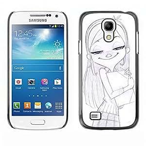 Shell-Star Art & Design plastique dur Coque de protection rigide pour Cas Case pour SAMSUNG Galaxy S4 mini VERSION! / i9190 / i9192 ( Girl School Drawing Pencil Art Blonde )